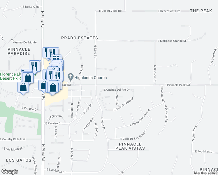map of restaurants, bars, coffee shops, grocery stores, and more near 9326 East Casitas Del Rio Drive in Scottsdale