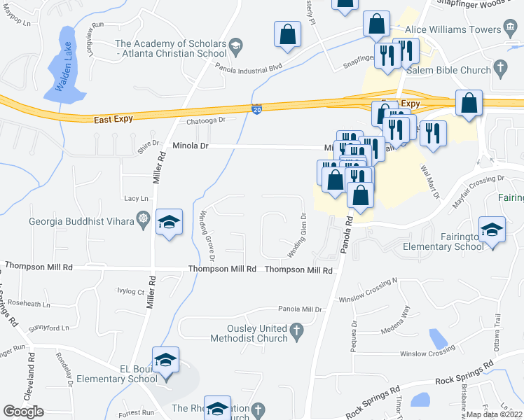 map of restaurants, bars, coffee shops, grocery stores, and more near 5135 Winding Glen Drive in Lithonia