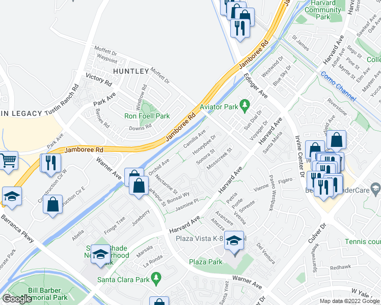 map of restaurants, bars, coffee shops, grocery stores, and more near 16607 Honeybee Drive in Tustin
