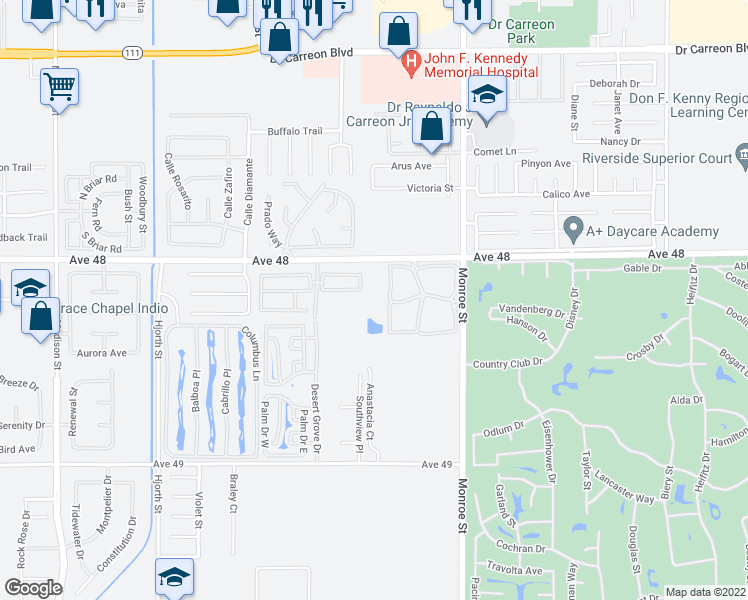 map of restaurants, bars, coffee shops, grocery stores, and more near 81777 Avenue 48 in Indio