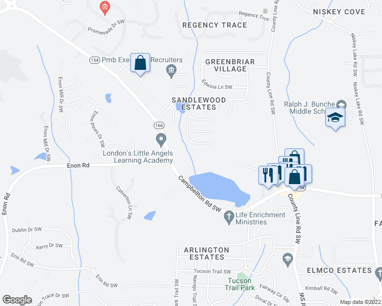 map of restaurants, bars, coffee shops, grocery stores, and more near 2019 Sandlake Drive Southwest in Atlanta