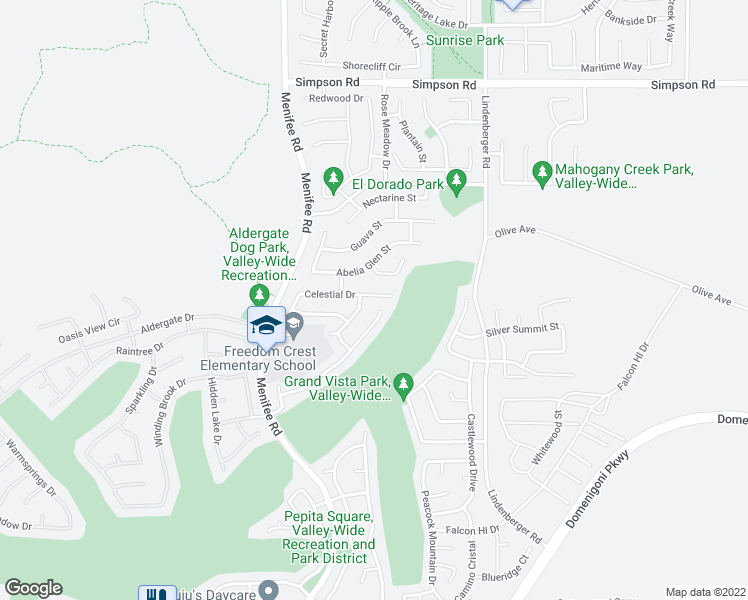 map of restaurants, bars, coffee shops, grocery stores, and more near 29195 Celestial Drive in Menifee