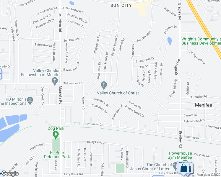 map of restaurants, bars, coffee shops, grocery stores, and more near 29025 Pebble Beach Drive in Menifee