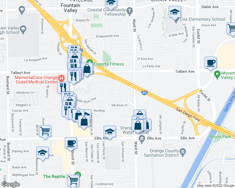 map of restaurants, bars, coffee shops, grocery stores, and more near 10354 Powderhorn River Court in Fountain Valley