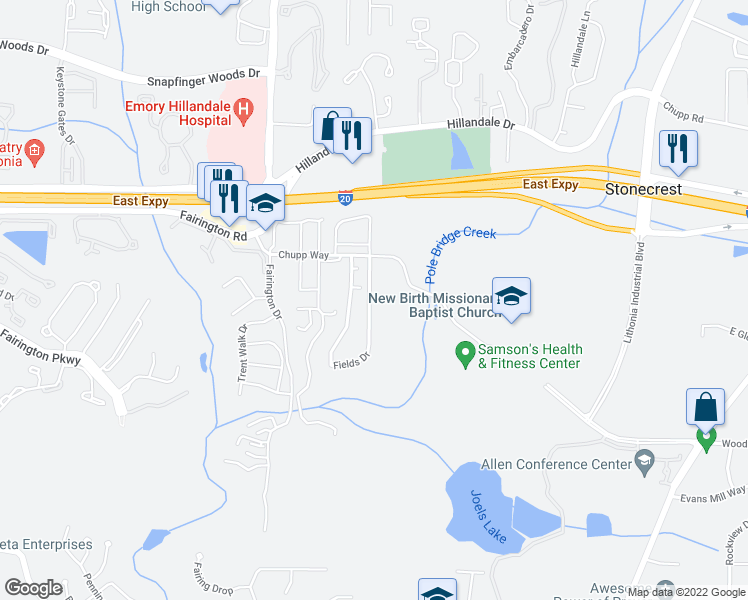map of restaurants, bars, coffee shops, grocery stores, and more near 3069 Fields Drive in Lithonia