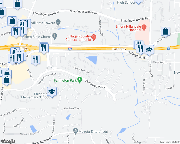 map of restaurants, bars, coffee shops, grocery stores, and more near Walden Book Drive in Lithonia