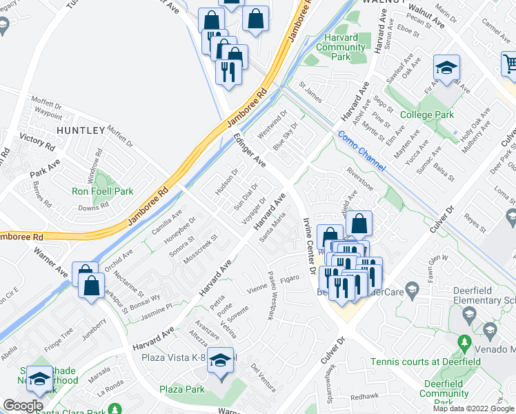 map of restaurants, bars, coffee shops, grocery stores, and more near Voyager Drive in Tustin
