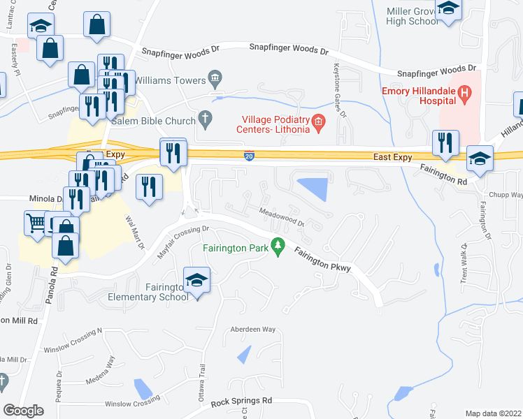 map of restaurants, bars, coffee shops, grocery stores, and more near 421 Meadowood Drive in Lithonia