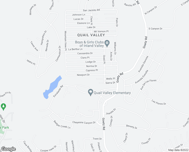map of restaurants, bars, coffee shops, grocery stores, and more near 23775 Newport Drive in Menifee