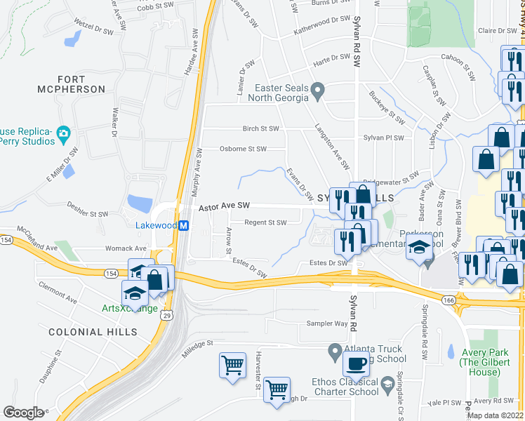 map of restaurants, bars, coffee shops, grocery stores, and more near 1082 Astor Avenue Southwest in Atlanta