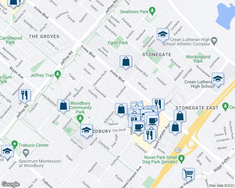 map of restaurants, bars, coffee shops, grocery stores, and more near Groveland in Irvine