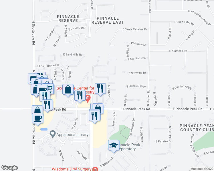 map of restaurants, bars, coffee shops, grocery stores, and more near 23706 North 77th Street in Scottsdale