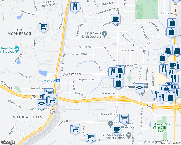 map of restaurants, bars, coffee shops, grocery stores, and more near 1053 Astor Avenue Southwest in Atlanta