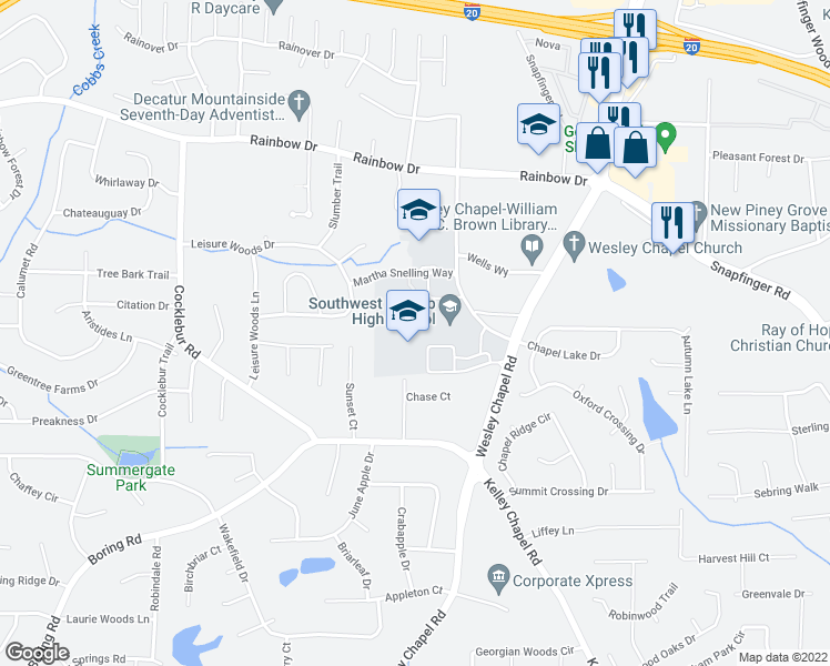 map of restaurants, bars, coffee shops, grocery stores, and more near in DeKalb
