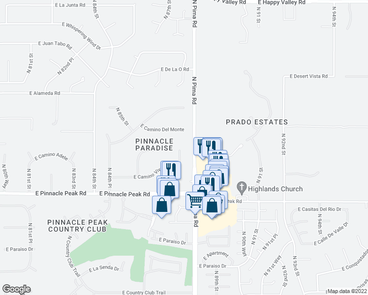 map of restaurants, bars, coffee shops, grocery stores, and more near 8749 East Camino Vivaz Street in Scottsdale