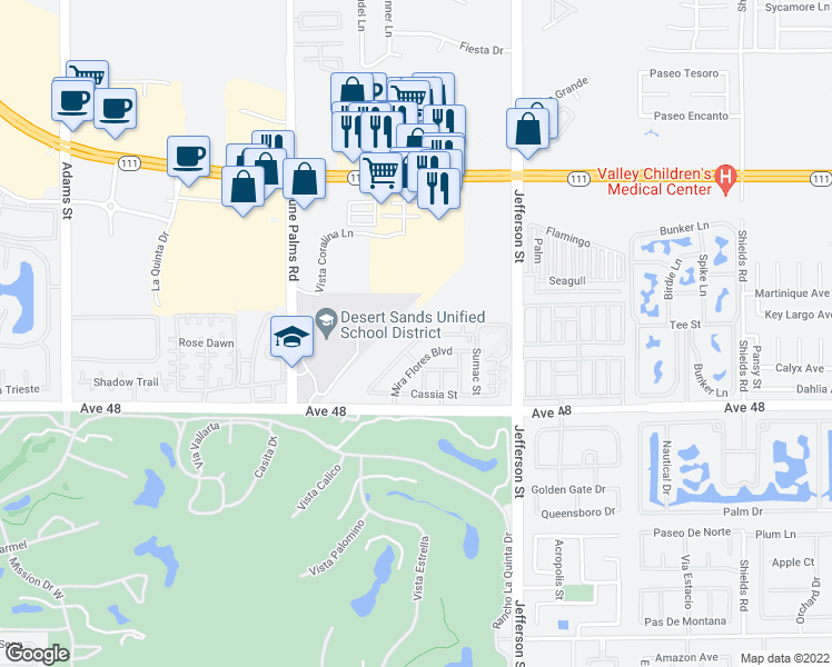 map of restaurants, bars, coffee shops, grocery stores, and more near 79770 Desert Willow Street in La Quinta