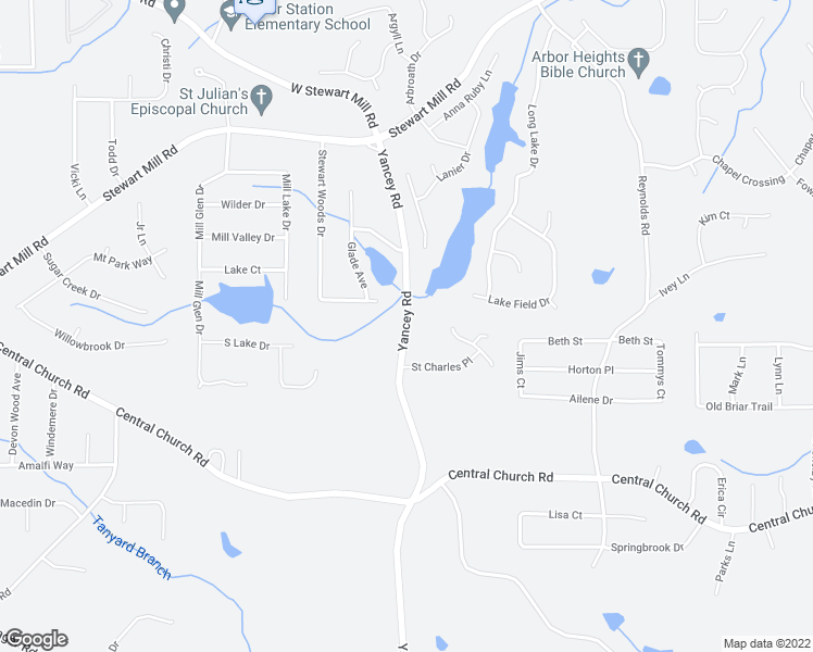 map of restaurants, bars, coffee shops, grocery stores, and more near Yancey Road in Douglasville