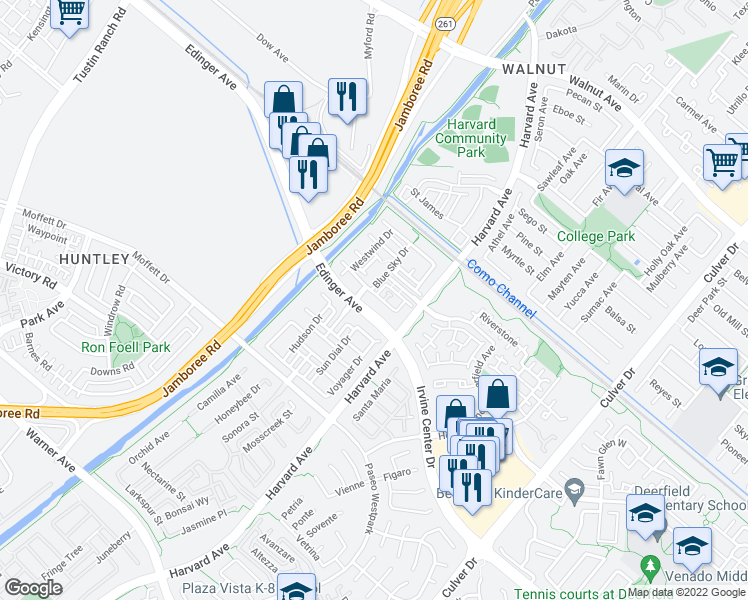 map of restaurants, bars, coffee shops, grocery stores, and more near 365 Flyers Lane in Tustin