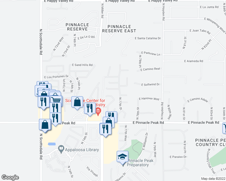map of restaurants, bars, coffee shops, grocery stores, and more near 7655 East Starla Drive in Scottsdale
