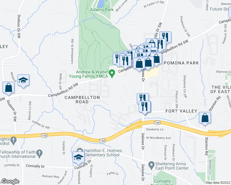 map of restaurants, bars, coffee shops, grocery stores, and more near 1850 Beatrice Court Southwest in Atlanta