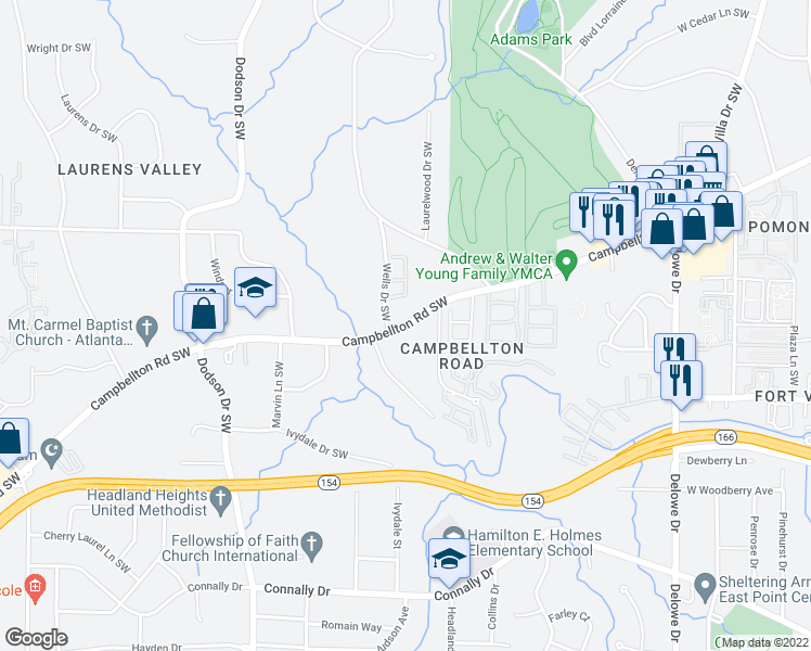 map of restaurants, bars, coffee shops, grocery stores, and more near Campbellton Road Southwest in Atlanta