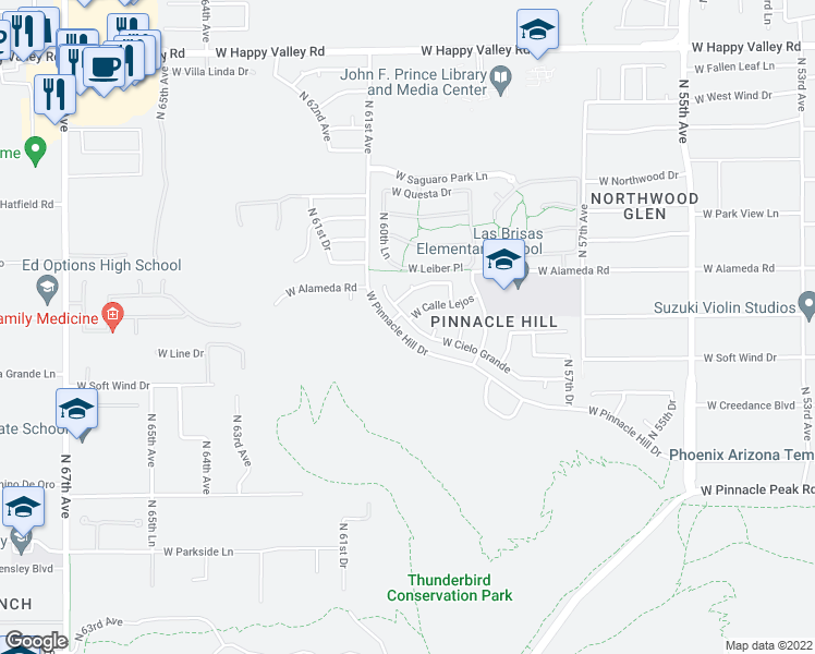 map of restaurants, bars, coffee shops, grocery stores, and more near 5985 West Cielo Grande in Glendale