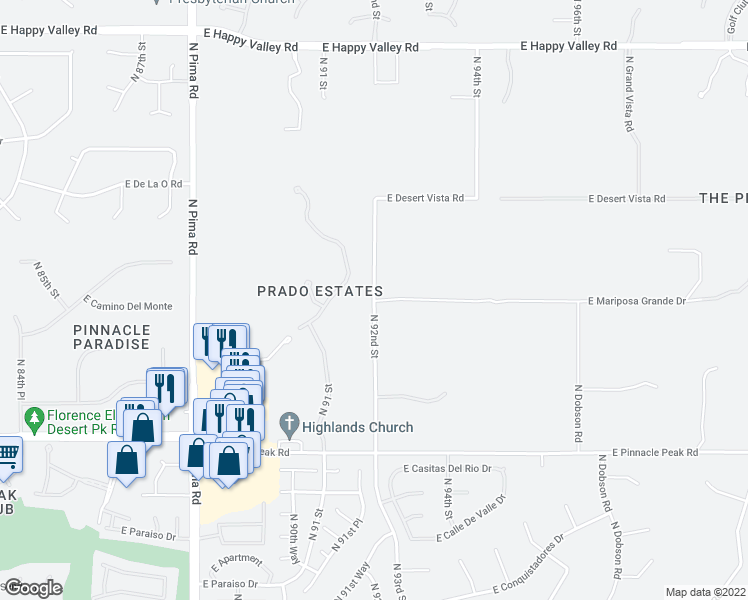 map of restaurants, bars, coffee shops, grocery stores, and more near 23735 North 92nd Street in Scottsdale