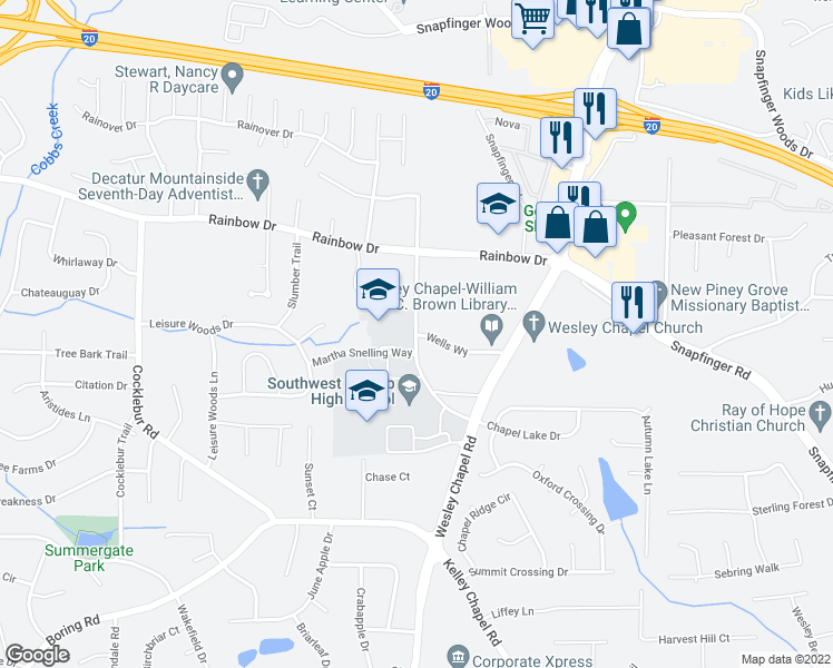 map of restaurants, bars, coffee shops, grocery stores, and more near 2760 Kelley Chapel Road in Decatur