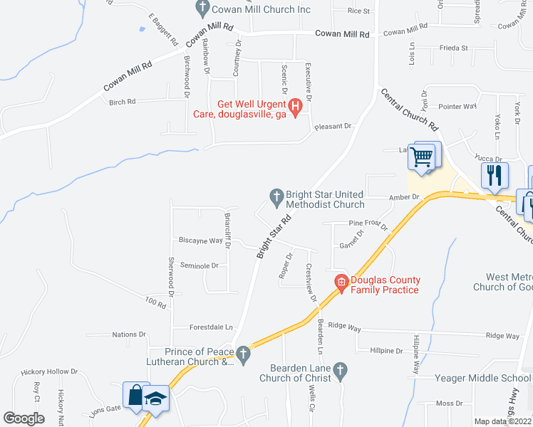 map of restaurants, bars, coffee shops, grocery stores, and more near 3715 Bright Star Road in Douglasville