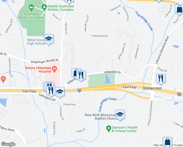 map of restaurants, bars, coffee shops, grocery stores, and more near 6129 Hillandale Drive in Lithonia