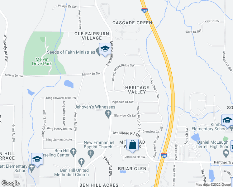 map of restaurants, bars, coffee shops, grocery stores, and more near 3578 Heritage Valley Road Southwest in Atlanta