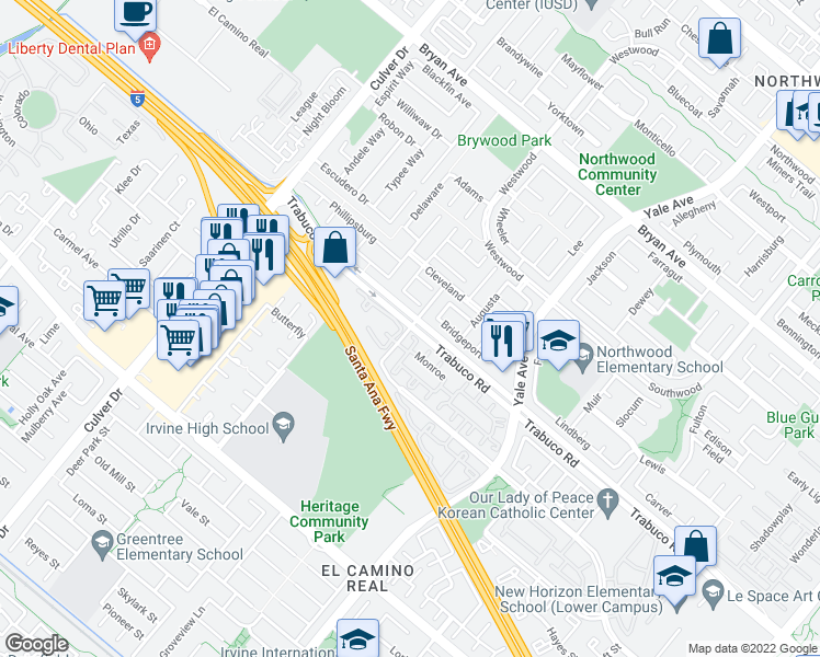 map of restaurants, bars, coffee shops, grocery stores, and more near 128 Monroe in Irvine