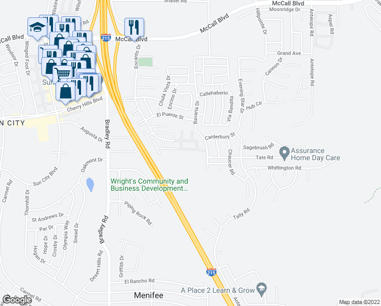 map of restaurants, bars, coffee shops, grocery stores, and more near 28415 Encanto Drive in Menifee