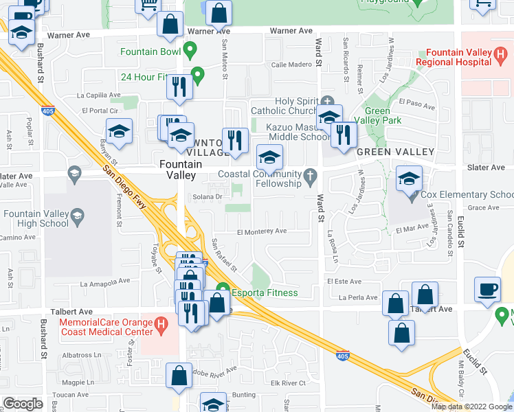 map of restaurants, bars, coffee shops, grocery stores, and more near 17628 Los Alamos Street in Fountain Valley