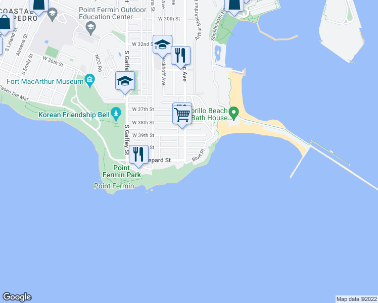 map of restaurants, bars, coffee shops, grocery stores, and more near 4016 South Pacific Avenue in San Pedro