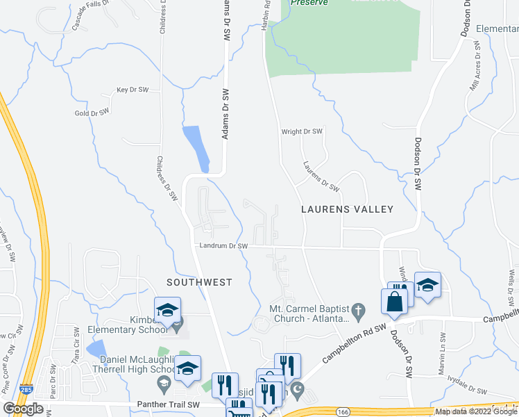 map of restaurants, bars, coffee shops, grocery stores, and more near 2985 Landrum Drive Southwest in Atlanta