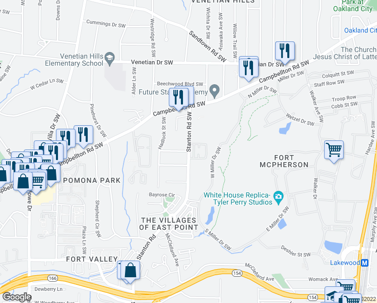 map of restaurants, bars, coffee shops, grocery stores, and more near Marcel Ave SW in Atlanta