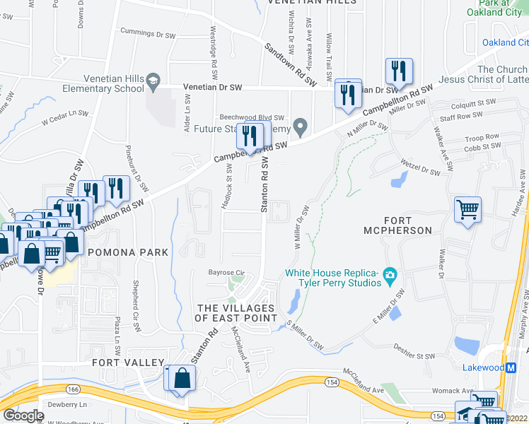map of restaurants, bars, coffee shops, grocery stores, and more near Marcel Avenue Southwest in Atlanta
