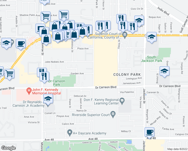 map of restaurants, bars, coffee shops, grocery stores, and more near 46700 Arabia Street in Indio