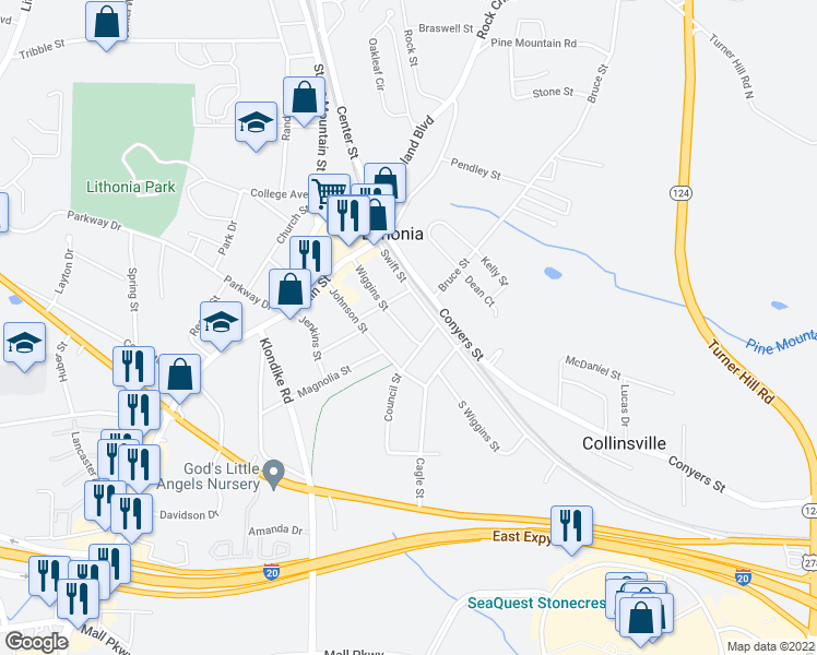 map of restaurants, bars, coffee shops, grocery stores, and more near 2620 Wiggins Street in Lithonia