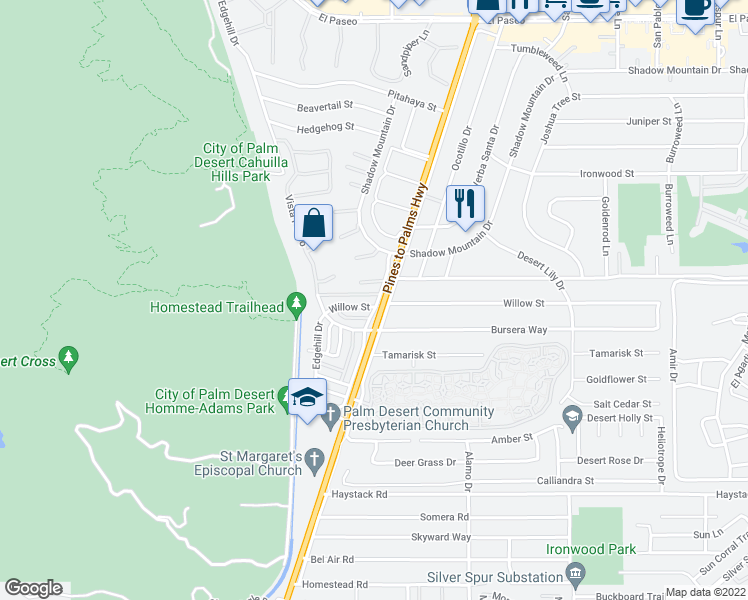 map of restaurants, bars, coffee shops, grocery stores, and more near 72770 Willow Street in Palm Desert