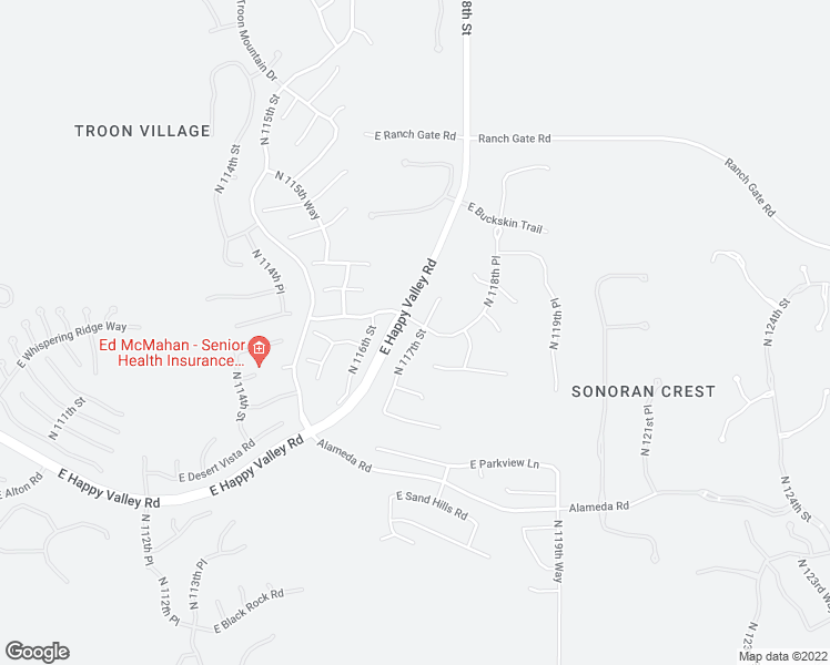 map of restaurants, bars, coffee shops, grocery stores, and more near 24684 North 117th Street in Scottsdale