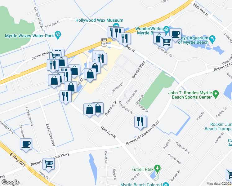map of restaurants, bars, coffee shops, grocery stores, and more near 1510 Coastal Lane in Myrtle Beach