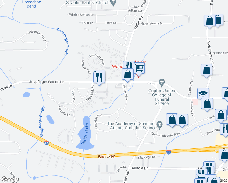 map of restaurants, bars, coffee shops, grocery stores, and more near 4968 Longview Walk in Decatur