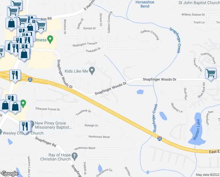map of restaurants, bars, coffee shops, grocery stores, and more near Snapfinger Woods Drive in Decatur