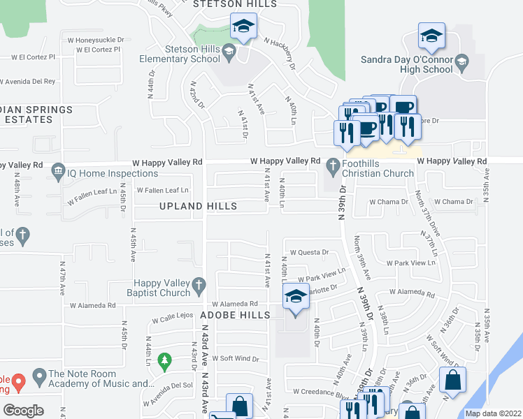 map of restaurants, bars, coffee shops, grocery stores, and more near 4108 West Whispering Wind Drive in Glendale