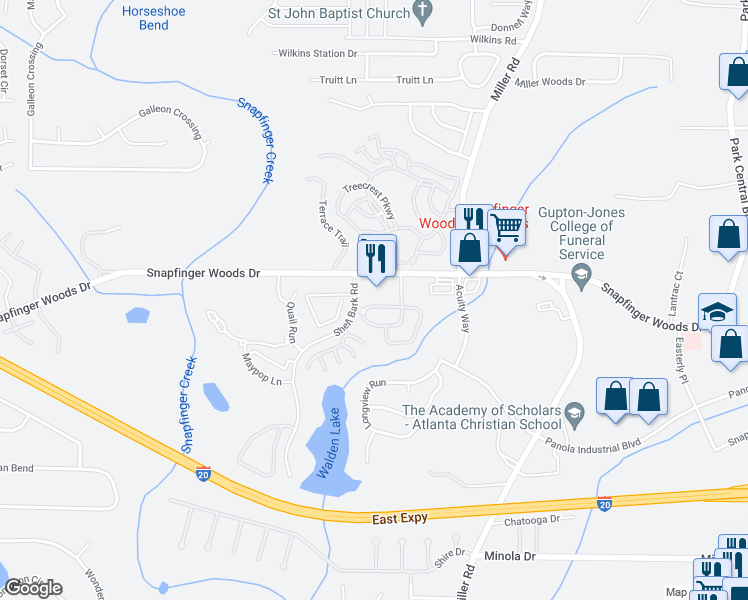 map of restaurants, bars, coffee shops, grocery stores, and more near 4908 Longview Walk in Decatur
