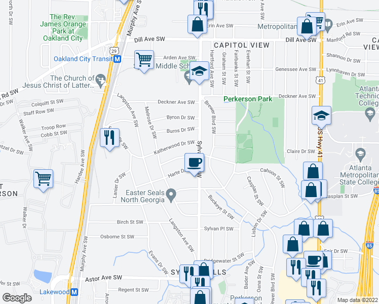 map of restaurants, bars, coffee shops, grocery stores, and more near 939 Woodbourne Drive Southwest in Atlanta