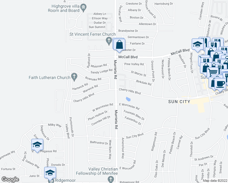 map of restaurants, bars, coffee shops, grocery stores, and more near 25991 Cherry Hills Boulevard in Menifee