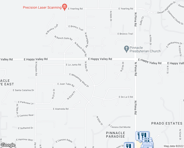 map of restaurants, bars, coffee shops, grocery stores, and more near 24609 North 84th Street in Scottsdale